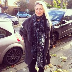 Andrea wearing her Tia scarf to work, perfect for this weather! #alexiafashion #streetstyle #london #winterfashion #luxuryscarf #damask #aw13 #whimsical