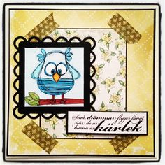 Owl card with digital stamps from Pysseldags  http://blog.pysseldags.com/ http://shop.pysseldags.se