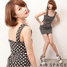 【AIR SPACE】麗緻點點荷葉邊後拉鍊小洋裝