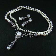 Srebrny Kot - 'Pearl Garlands I' - art clay silver
