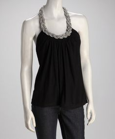 Take a look at this Black Braid Halter Top by Papillon Imports on #zulily today!