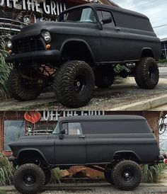 Lifted 1955 Chevy panel truck - https://www.pinterest.com/dapoirier/4x4-and-trucks/