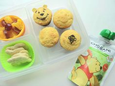 Tots are going to love this Winnie the Pooh lunch with super cute Pooh and bee corn muffins! Add fresh fruit, a few animal crackers, and a Chobani Tots Greek Yogurt Mango + Spinach pouch, made with real fruits and veggies for the best lunch this side of The Hundred Acre Wood. Created by BrainPowerBoy.com, sponsored by Chobani.