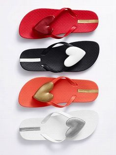 flip flops  -- I like the red ones on top and the white ones