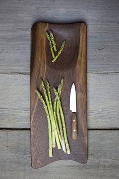 209. Handmade black walnut wood cutting board with inlay and blonde streak.