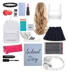 """School Day"" by donttouchmydrumset ❤ liked on Polyvore featuring Eos, adidas, Waterford, too cool for school, Herschel Supply Co., Kipling, Beats by Dr. Dre and Bobbi Brown Cosmetics"