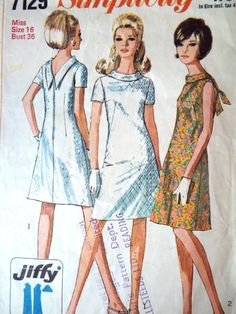 Vintage 1960s Simplicity 7129 jiffy sewing pattern A line dress with a low back, stand roll collar with tie. Sleeveless or short sleeve An easy to