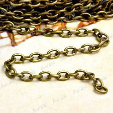 4m Antique Brass Unfinished Iron Cable Chain Findings 0.9×3×5mm CH113-4