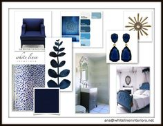 Navy Blue Color Scheme Decor Idea Board by White Linen Interiors #InteriorDesign