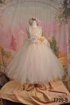 Silk Tutu Dress/Ivory Tutu/Flower by ElenaCollectionUSA on Etsy, $140.00