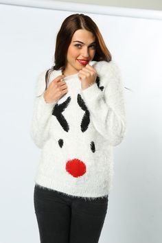 Made with Eyelash Yarn for a super-soft fluffy feel, this is our coziest jumper in the range. Designed exclusively for woman with a super flattering cut and cute reindeer face #ExclusivelyForWoman #SuperSoft #Reindeer #Rudolph #ChristmasJumpers #Cute #LadiesFashion #WomansWear #FestiveFashion #Wholesale #GiftIdeas #NationalChristmasJumperDay #TheChristmasJumperGrotto Novelty Christmas Jumpers, Christmas Sweaters, National Christmas Jumper Day, Reindeer Face, Festival Fashion, Range, Pullover, Woman, Womens Fashion