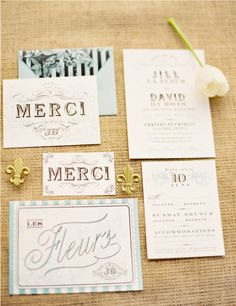 French inspired wedding invitations.