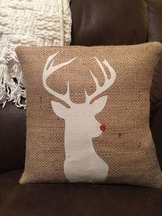 reindeer pillow burlap pillow Rudolph deer by thelittlegreenbean
