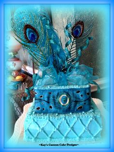 Peacock Blue Cake - donated for auction to benefit local high school bass fishing team ~Kay's Custom Cake Designs~
