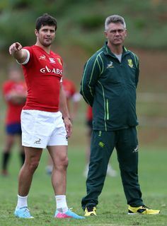Morne Steyn talks with Springbok coach Heyneke Meyer during the Springboks training session at Northwood High School on June 2013 in Durban, South Africa. South African Rugby Players, Gloucester Rugby, Challenge Cup, Photo L, Victorious, Beautiful People, High School, June, Training