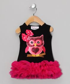 Look at this #zulilyfind! The Princess and the Prince Black & Pink Owl Ruffle Dress - Infant, Toddler & Girls by The Princess and the Prince #zulilyfinds