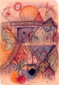 Study of shape and color № 9 with railway bridge by American artist Albert Bloch (1882-1961).