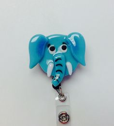 Retractable Badge Reel Fused Glass Elephant