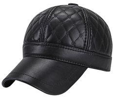 Mens Winter PU Fleece Hat Lined Fur Padded Baseball Cap with Fold Earflaps  - Black - C9187876UXC 3dc4f4df9f51