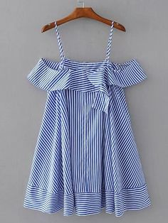 SheIn offers Cold Shoulder Striped Ruffle Top & more to fit your fashionable needs. Baby Dress Design, Baby Girl Dress Patterns, Casual Summer Dresses, Simple Dresses, Gowns For Girls, Girls Dresses, Modern Hijab Fashion, Fashion Design For Kids, Smart Outfit
