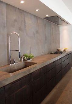 Prachtige keuken: zwart met betonnen blad