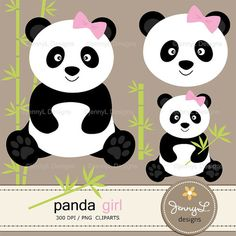 **CHECK OUT my shops profile for promo / coupon codes: https://www.etsy.com/shop/JennyLDesignsShop  These Panda Girl Digital Papers and