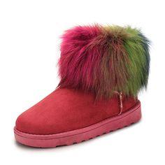 Sale 20% (29.46$) - Women Snow Boots Colorful Flat Keep Warm Plush Cotton Slip-On Suede Short Boots