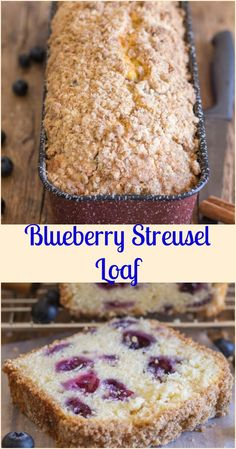 blueberry streusel loaf Blueberry Bread, is the perfect way to bake with blueberries, a delicious blueberry filled sweet loaf, with a yummy Streusel Topping, perfect anytime. Blueberry Loaf Cakes, Blueberry Recipes, Blueberry Quick Bread, Quick Bread Recipes, Cake Recipes, Loaf Recipes, Sweet Bread Loaf Recipe, Amish Recipes, Breakfast Snacks