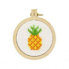 """Why we love it! Have you ever wanted to try cross stitch or needle point but haven't had the opportunity? These kits were custom designed so you can try out this super fun craft in a bite size piece. Create cute and fun cross stitch designs with this kit in just a few fun-filled hours. Features: Craft: Cross Stitch Size: 2"""" Hoop Material included in the kit: 2"""" Wooden hoop 100% Egyptian Cotton DMC Thread 100% Cotton DMC Fabric Tapestry needle Instructions (English and Dutch) Kit assembled in Nor Tiny Cross Stitch, Easy Cross Stitch Patterns, Cross Stitch Flowers, Cross Stitch Kits, Cross Stitch Designs, Cross Stitching, Cross Stitch Embroidery, Wooden Hoop, Needlepoint Kits"""