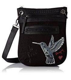 #Desigual Tasche - Modell Black Bird. Muster: floral, exotisch und Text, schwarz.