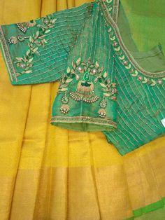 Uppada saree with handwork designer blouse whatsapp 9047090885 tanvika sarees - Her Crochet Source by work Pattu Saree Blouse Designs, Simple Blouse Designs, Stylish Blouse Design, Fancy Blouse Designs, Bridal Blouse Designs, Blouse Neck Designs, Designer Blouse Patterns, Work Blouse, Bollywood Saree