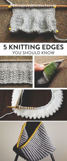 Are you a knitting know it all? Double check you basic know-how as we explore 5 … Are you a knitting know it all? Double check you basic know-how as we explore 5 different knit edge techniques that every knitter ought to know Knitting Help, Knitting Stiches, Knitting Needles, Knitting Patterns Free, Knit Patterns, Crochet Stitches, Knitting Tutorials, Free Pattern, Knitting Ideas