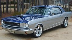 1966 mustang coupe restomod silver blue 001