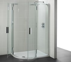 Frameless Quadrant Shower Doors is now available at QS Supplies at cheap prices. We also stock Offset Quadrant Enclosures. Bifold Shower Door, Shower Doors, Bathroom Flooring, Bathroom Furniture, Quadrant Shower, Shower Taps, Radiators, Faucet, Locker Storage