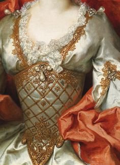 "Nicolas de Largillière, ""Portrait of a Woman"" (detail) 1739 Finely detailed lace and beading"