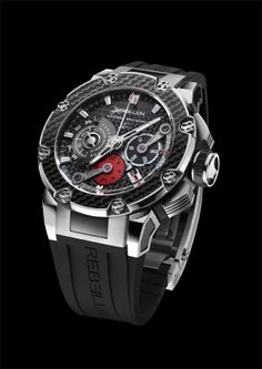 Predator Chrono 24H. SOLD OUT! The Predator Chrono 24H features a chronograph with 24 Hour Counter. Limited edition of watches, worn by Rebellion Racing's pilots during the 2010 Le Mans® 24 Hours® race. For more information, please visit: http://www.rebellion-timepieces.com/collection-predator-chrono-24h.php#1