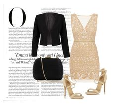 Black &Gold by merima-699 on Polyvore featuring polyvore, fashion, style, Nicole Miller, WithChic, Miss Selfridge, Serpui, Vanity Fair and clothing