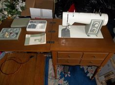 Kenmore Sewing Machine Model 16 Green White Accessories RARE | eBay