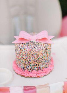 Donut Birthday Parties, Baby Birthday Cakes, Donut Party, 1st Birthday Girls, Cake Baby, Sprinkle Birthday Cakes, Cake For Baby Girl, Rainbow Birthday Cakes, 1st Birthday Party Ideas For Girls