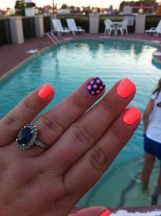 Neon Colored Nails With Polka Dots. I would use coral or pink