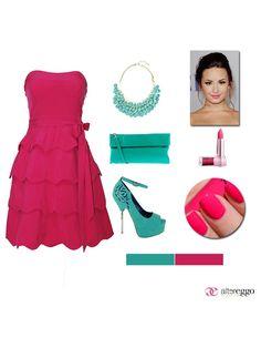 #Vestido #vuelo #rosa #fucsia #olanes #strapless #mint #verde