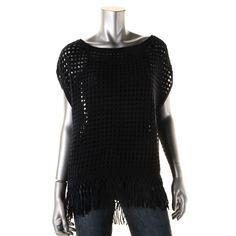 Elie Tahari Womens Open Stitch Poncho Sleeve Poncho Sweater