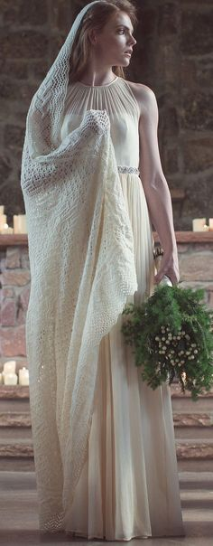 Knitting Pattern for Maria's Veil - This lace masterpiece can be worn as a shawl after the wedding. Designed by Lisa Jacobs. 50″ wide and 50″ tall in lace weight.