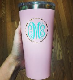 Monogrammed Corkcicle Tumbler with Lid 16oz. A personal favorite from my Etsy shop https://www.etsy.com/listing/387530838/monogrammed-corkcicle-tumbler-16oz  #monogrammedtumbler #corkcicletumbler #monogrammedcorkcicle