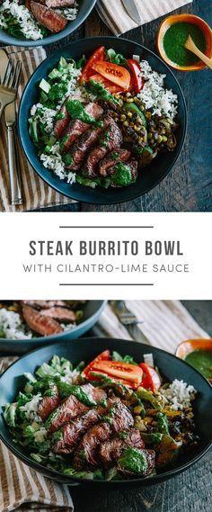 Steak Burrito Bowl with rice, cilantro-lime sauce, tomatoes, corn and beans. It's Gluten-free! Recipe here: https://greenchef.com/recipes/family-steak-burrito-bowl?utm_source=pinterest&utm_medium=link&utm_campaign=social&utm_content=Steak-Burrito-Bowl-Fam