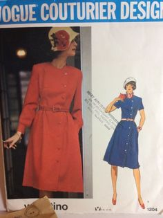 Vogue Sewing Pattern 1204 Vtg Valentino 14  Dress Coatdress 1970s Mid Knee FF | eBay