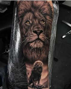 50 Eye-Catching Lion Tattoos That'll Make You Want To Get Inked - KickAss Things - 50 Eye-Catching Lion Tattoos That'll Make You Want To Get Inked – KickAss Things - Lion Head Tattoos, Forarm Tattoos, Cool Forearm Tattoos, Leo Tattoos, Leg Tattoo Men, Bild Tattoos, Feather Tattoos, Hals Tattoo Mann, Tattoo Hals