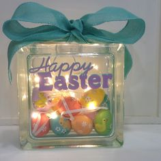 Crafty glass block ideas you will love! – Craft projects for every fan! Painted Glass Blocks, Decorative Glass Blocks, Lighted Glass Blocks, Easter Projects, Easter Crafts, Craft Projects, Craft Ideas, Project Ideas, Easter Decor