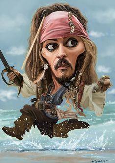 Caricature: Johnny Depp as Captain Jack Sparrow by richconleyart Cartoon Faces, Funny Faces, Cartoon Art, Caricature Artist, Caricature Drawing, Drawing Art, Funny Caricatures, Celebrity Caricatures, Celebrity Drawings