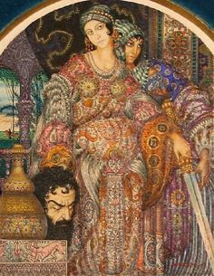 """Arthur Szyk, """"Judith Holding the Head of Holofernes,"""" 1921, watercolor, ink and gouache on paper. 13 x 10 cm, auctioned by Gene Shapiro Auctions 10/20/2007 (Lot 239)"""